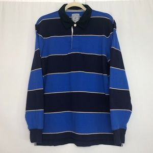 Lands' End Blue Stripe Authentic Rugby Polo Shirt